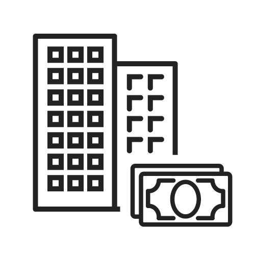 Money in front of high-rise buildings graphic