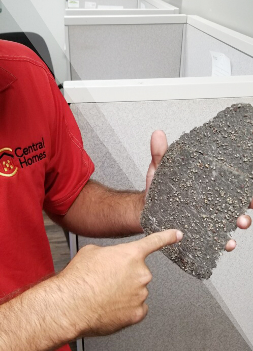 Example of shingle with lots of missing granules