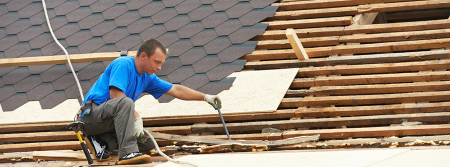 Man working on Florida roof